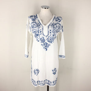 New handmade Kaftan Blue White Embroidered Tunic